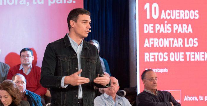 """Sánchez quiere """"erradicar los privilegios"""" de los políticos y llama a la movilización en defensa de las pensiones"""