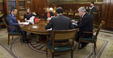 Imagen de la reunión de ayer en Madrid para ultimar los aspectos del REF económico. DA