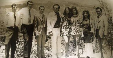 Hogar Canario de Caracas, 1971. En el centro de la foto, Santiago Puig junto a su entonces novia, Noelia, y la hermana de ésta. El tercero, de izquierda a derecha, es Quico Gutiérrez. DA