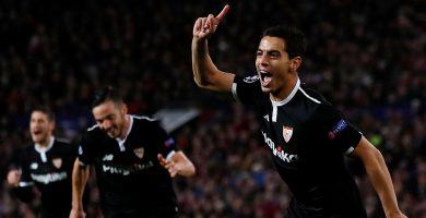 Ben Yedder celebra uno de sus goles al United | El Español