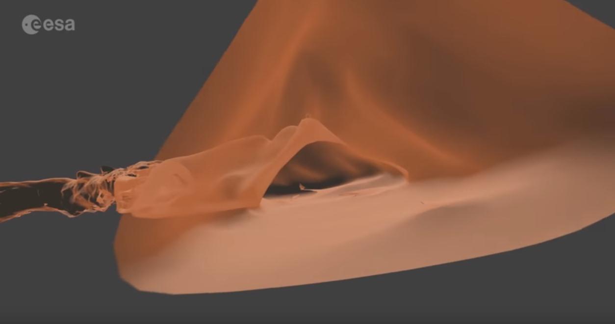 Recreación en 3D del tubo volcánico lanzaroteño. / ESA