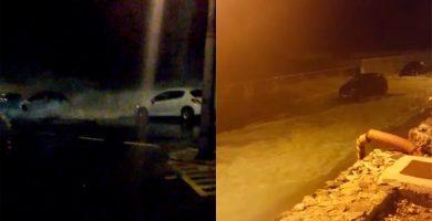 """Las olas arrasan con los coches en Garachico: """"¡Madre, madre, madre!"""""""
