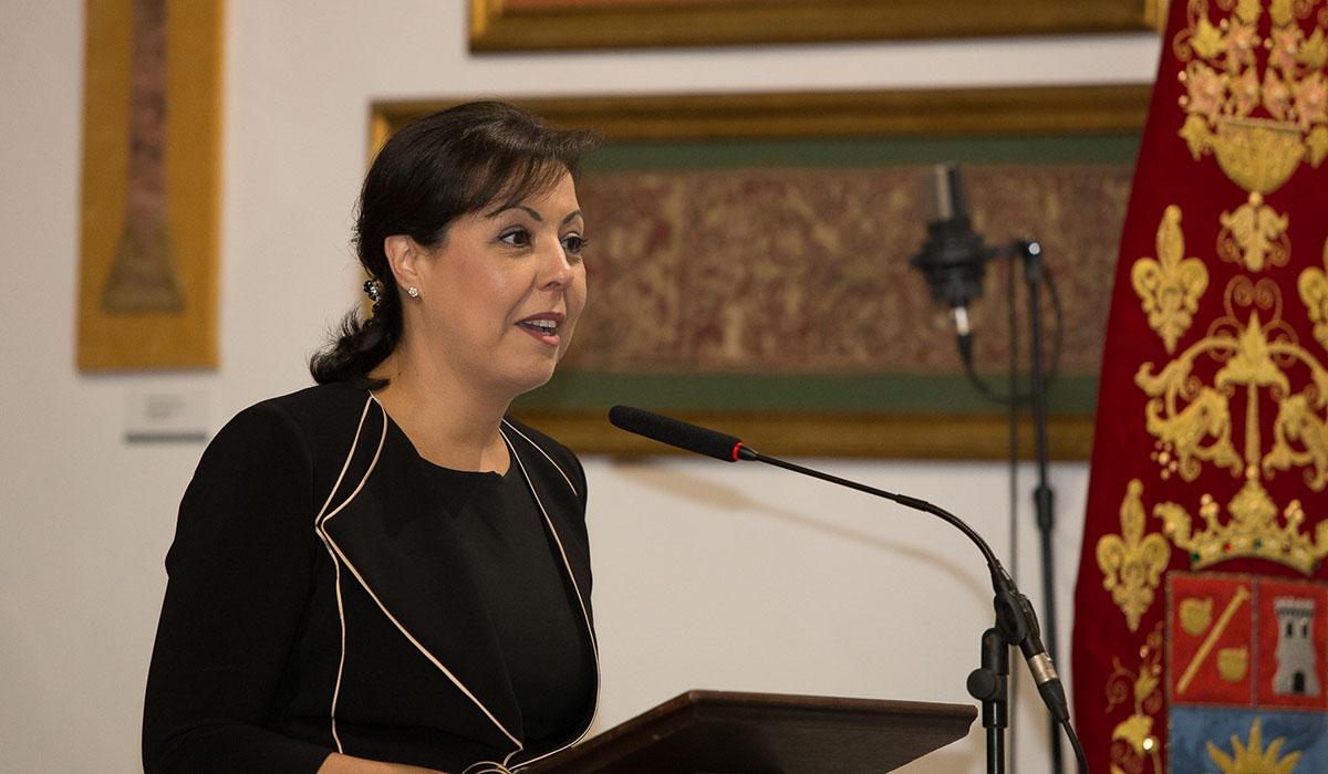 María Victoria López, directora general de GF Hoteles, durante la lectura de su pregón. DA