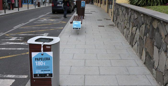 Una campaña de concienciación pone precio al mobiliario urbano de Los Realejos