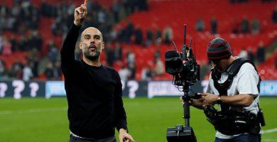Pep Guardiola celebra la victoria contra el Tottenham. Pep Guardiola celebra la victoria contra el Tottenham. Reuters