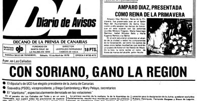 Primera página del DIARIO DE AVISOS en su edición del 15 de abril de 1978. DA