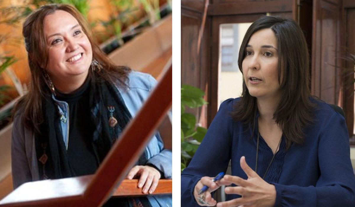 Marián Franquet, vicesecretaria general del PSOE en Tenerife, y Mónica Martín, portavoz socialista en La Laguna. DA