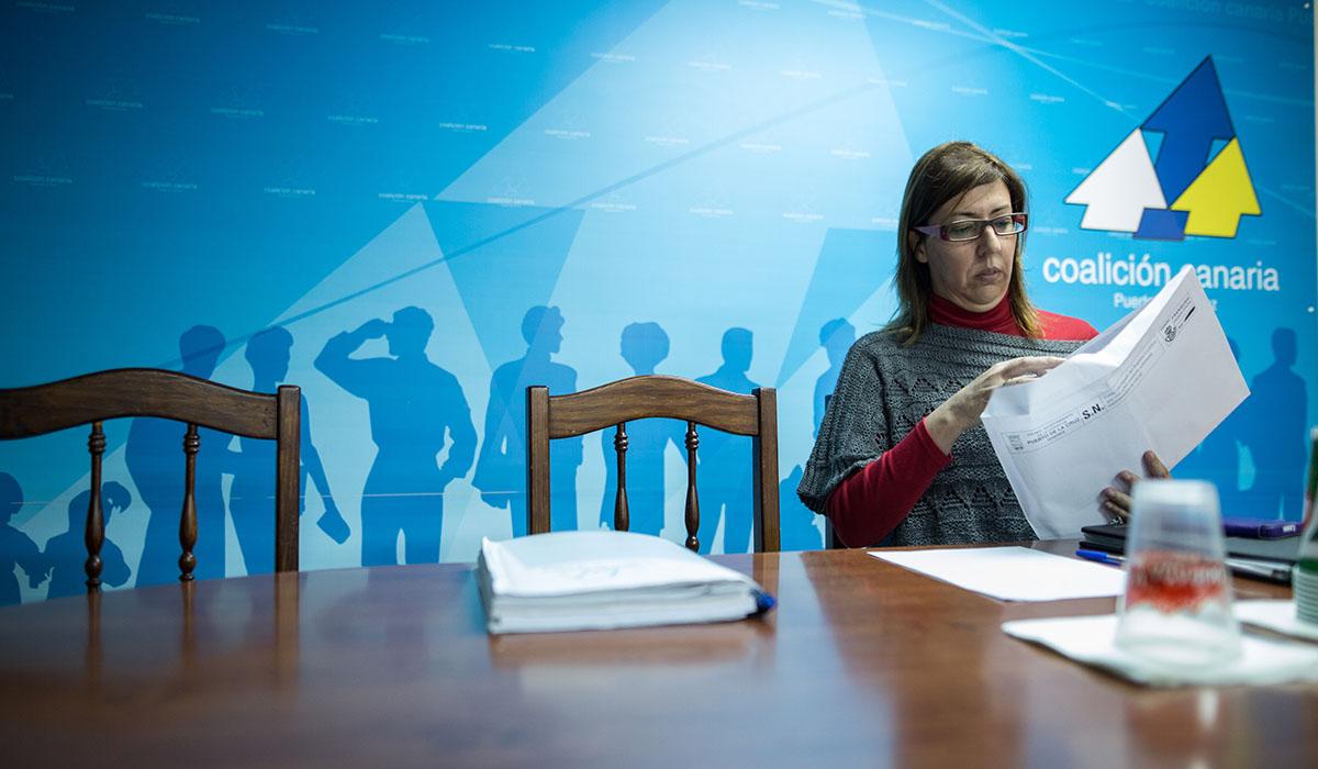 Sandra Rodríguez, tras una reunión en la sede de CC del Puerto. A. Gutiérrez