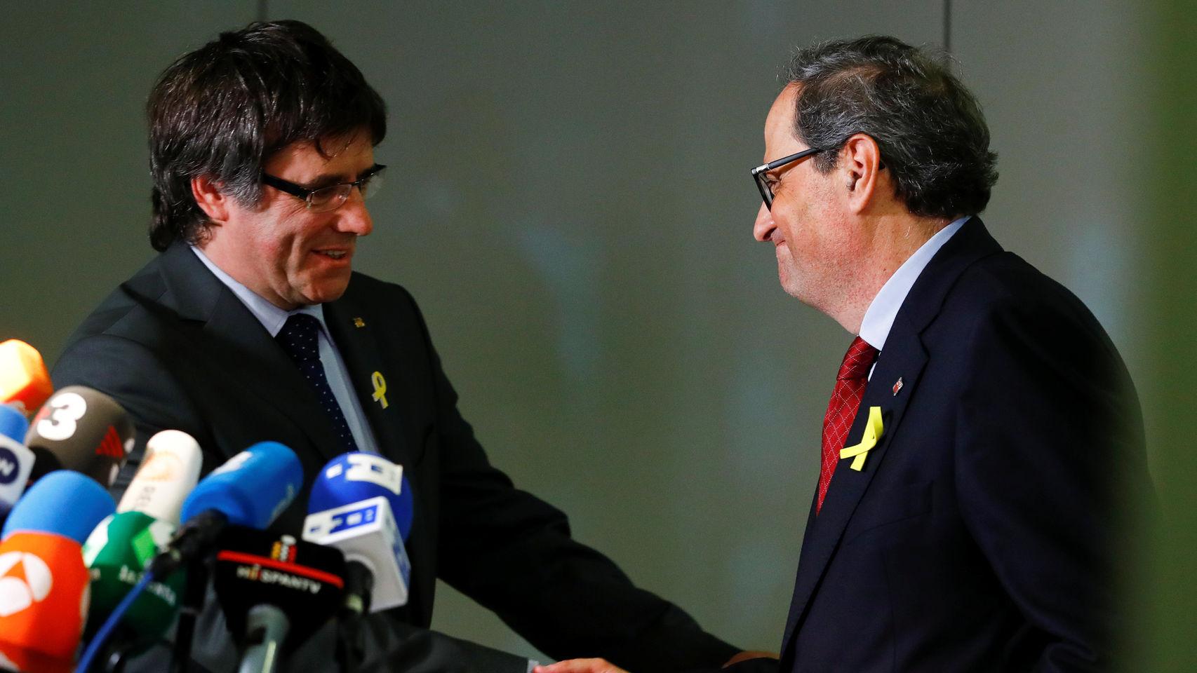 Carles Puigdemont y Quim Torra, en Berlín. / EE