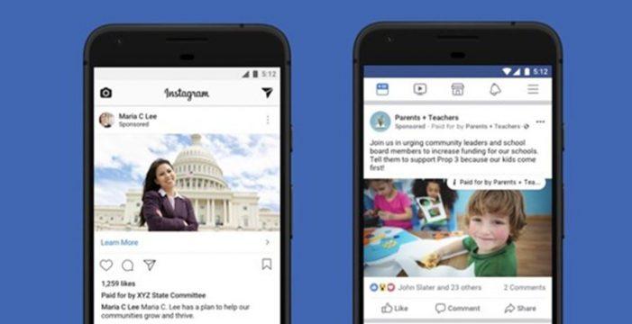 Facebook e Instagram incluyen una etiqueta que identifica campañas electorales