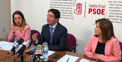 Patricia Hernández y Teresa Cruz, diputadas del PSOE en el Parlamento, flanquean al secretario insular, Pedro Martín, en la rueda de prensa de ayer. DA