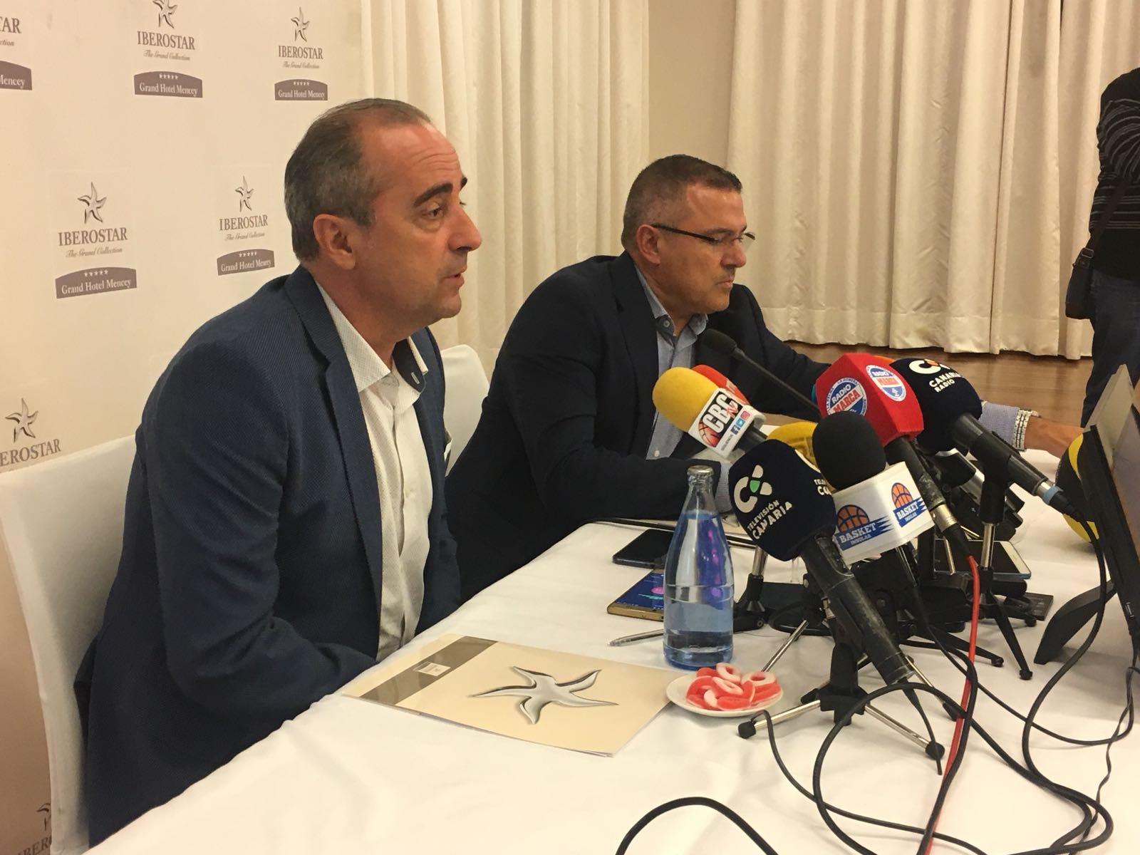 Txus Vidorreta en rueda de prensa en su presentación en el CB Canarias