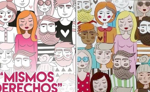 Plagio del cartel del 8M en Arico en León