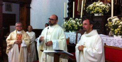 Ángel Jesús González Yanes, el día que tomó posesión, en agosto de 2014, como párroco de Guía de Isora. DA