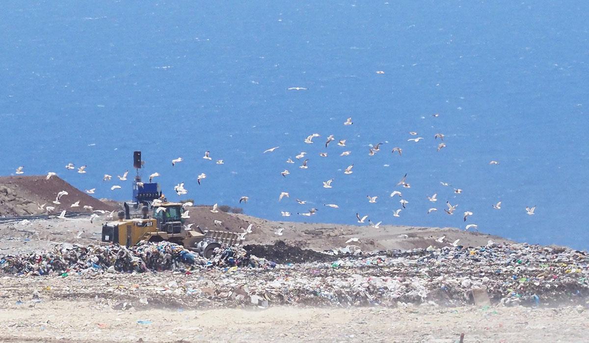 Montañas de basura en el Complejo Ambiental de Tenerife, en Arico. Sergio Méndez