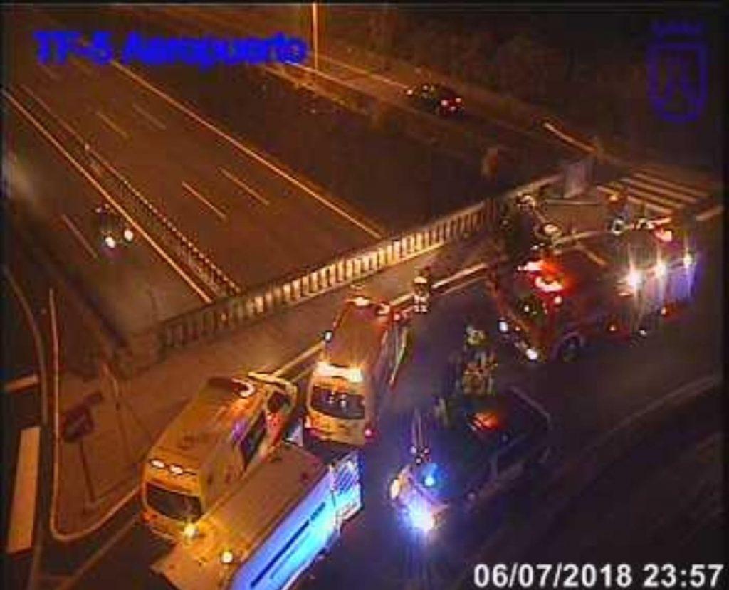 Imagen del accidente captada por el servicio de cámaras de control del tráfico y carreteras del Cabildo de Tenerife.
