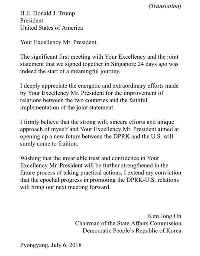 Carta de Kinn Jong un a Trump. / TWITTER DONALD TRUMP