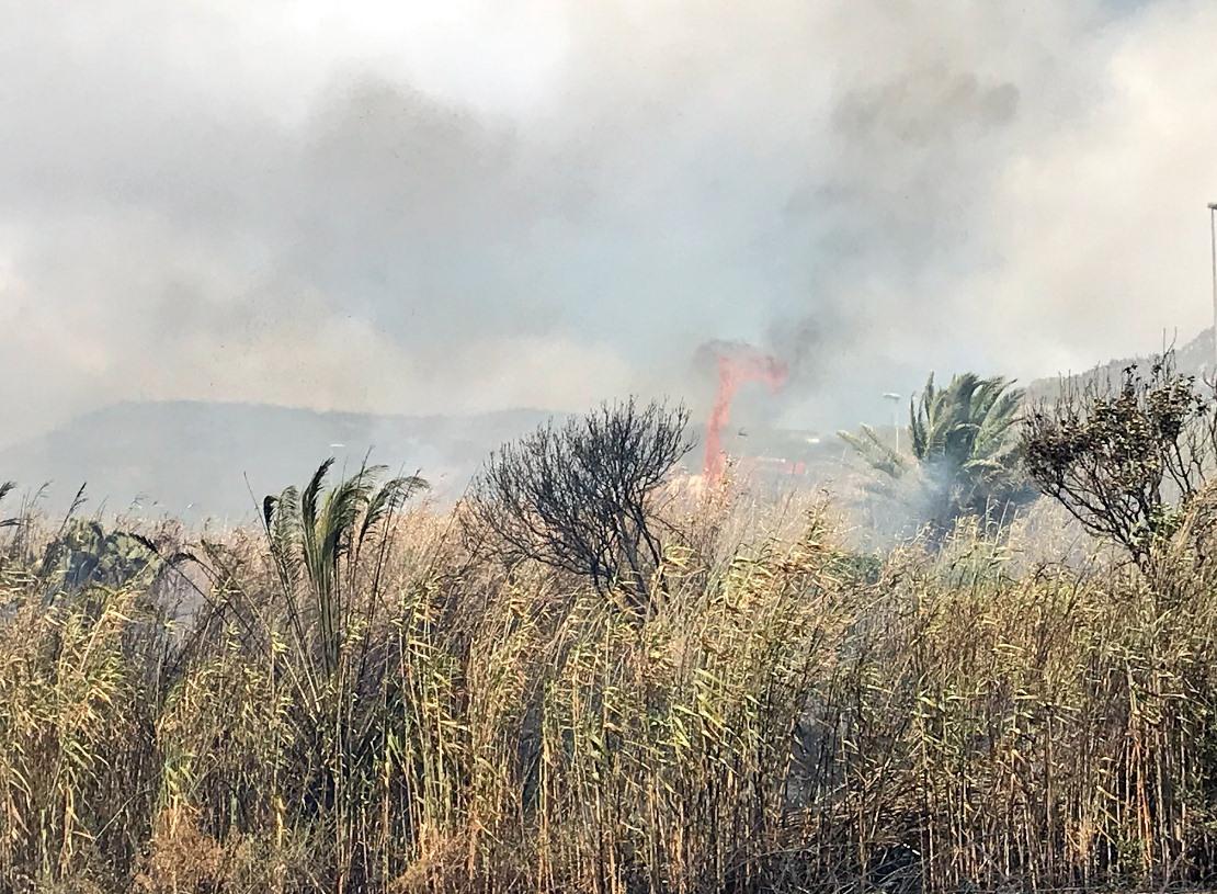 Fuego declarado en la Vía de Ronda. / TWITTER POLICÍA LOCAL