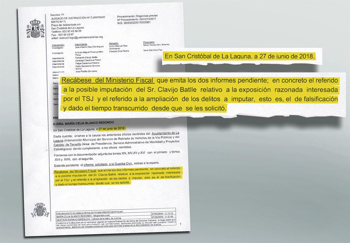 Párrafo de la tercera providencia en la que el Juzgado reclama a la Fiscalía que informe sobre el futuro procesal de Fernando Clavijo en el caso Grúas