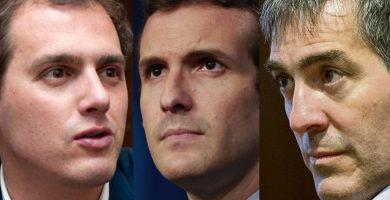 De izquierda a derecha, el líder de Ciudadanos, Albert Rivera; el presidente nacional del PP, Pablo Casado, y el presidente del Gobierno de Canarias, Fernando Clavijo (CC). DA