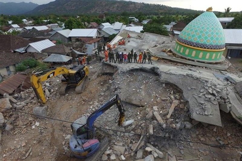 Mezquita derrumbada en Lombok por el terremoto. / EP