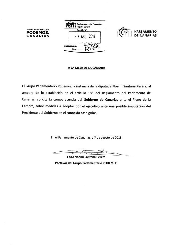 Solicitud de comparecencia de Podemos a Fernando Clavijo por el caso Grúas