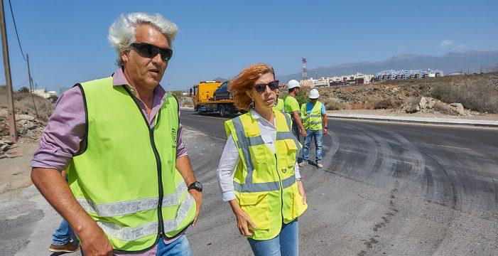 Las mejoras en la carretera de El Médano concluirán este mes