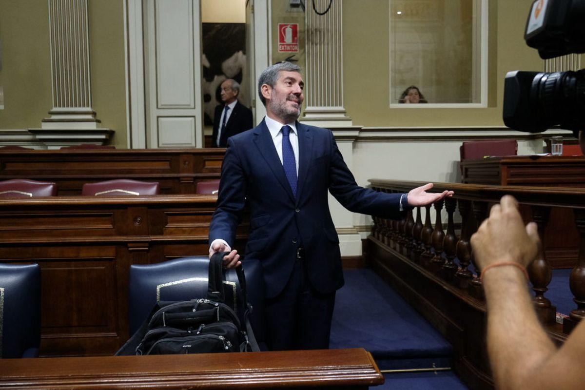 Fernando Clavijo, en el Parlamento regional