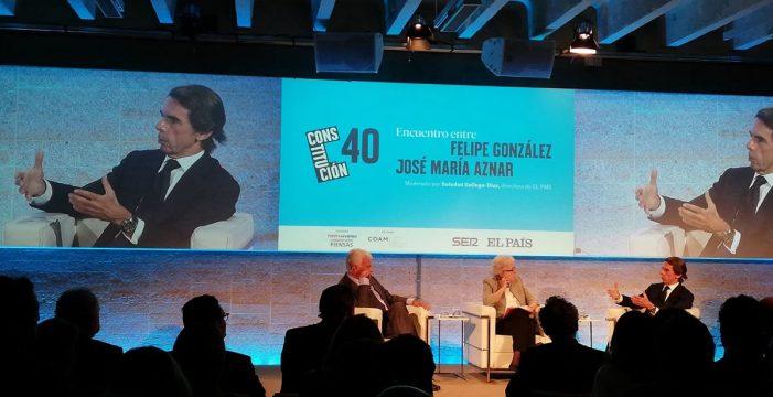 """González pide una reforma constitucional frente a Aznar, que cree que la """"urgencia"""" es restablecer el orden en Cataluña"""