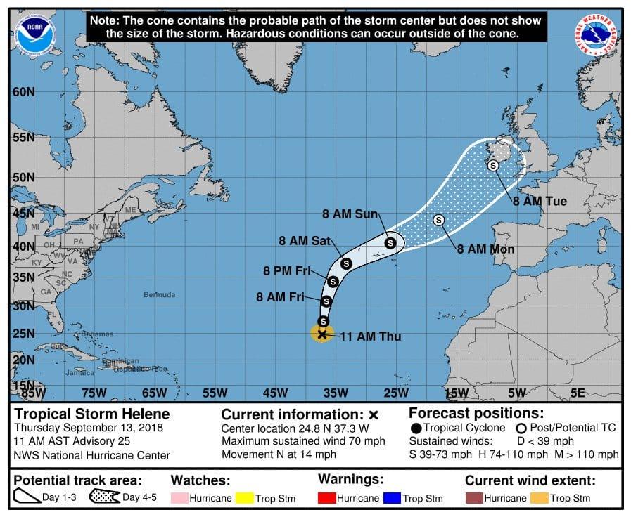 Trayectoria prevista para Helene, que no afectará a Canarias. Centro Nacional de Huracanes