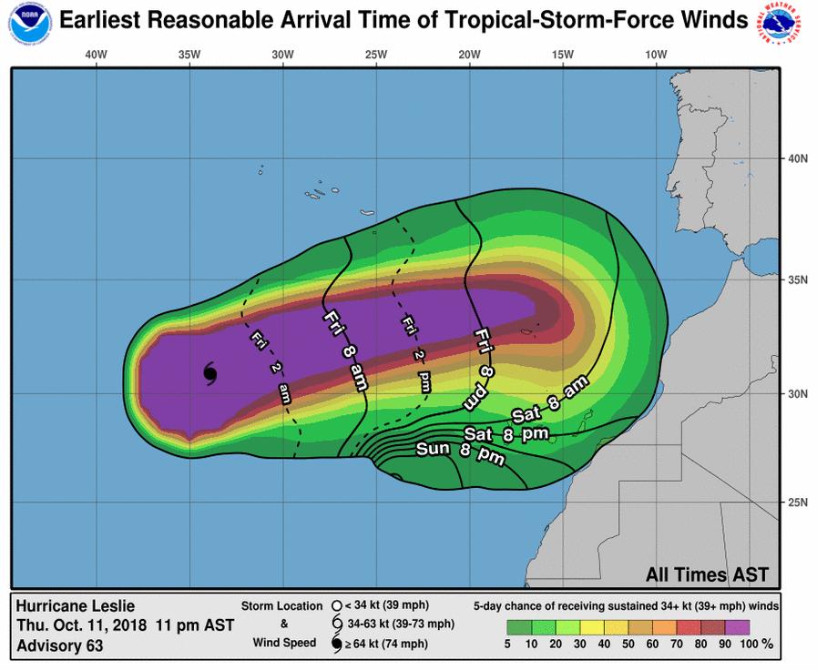 El Gobierno pone en preaviso a los cabildos para garantizar la inmediatez del PEFMA si hubiese que activarlo por Leslie. / NOAA