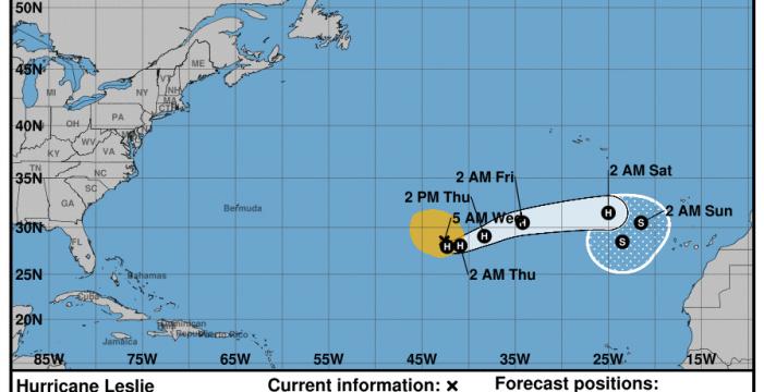 Un nuevo giro de Leslie, ya convertida en huracán, la dirige de nuevo hacia el Atlántico