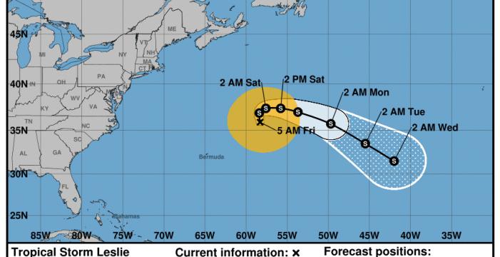 Canarias se libra, de momento, de la tormenta tropical Leslie, que mantiene alerta a Cabo Verde