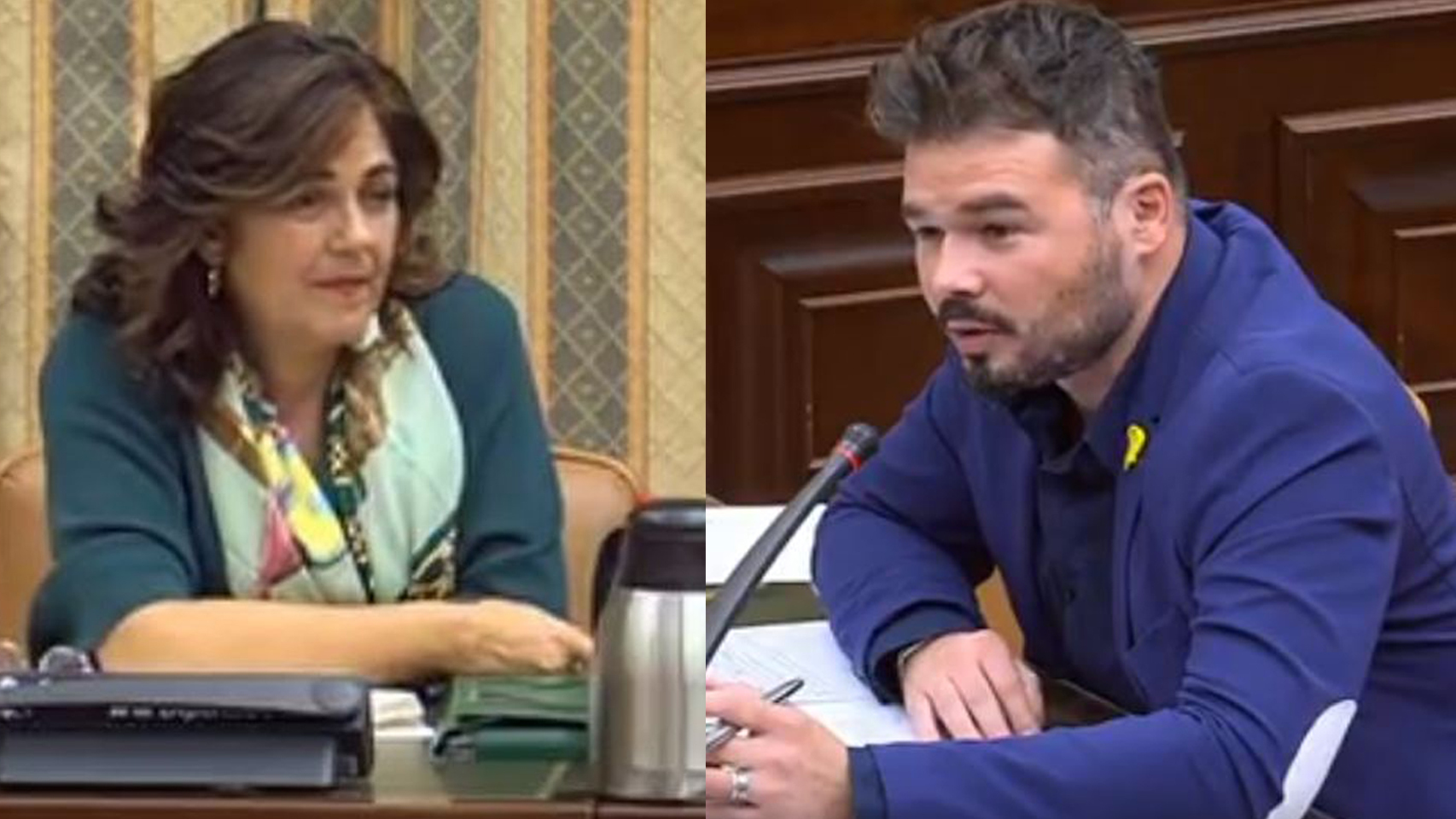 """Rufián llama """"palmera"""" a una diputada del PP y esta estalla en plena comisión: """"No me guiñes el ojo, imbécil"""". / EE"""