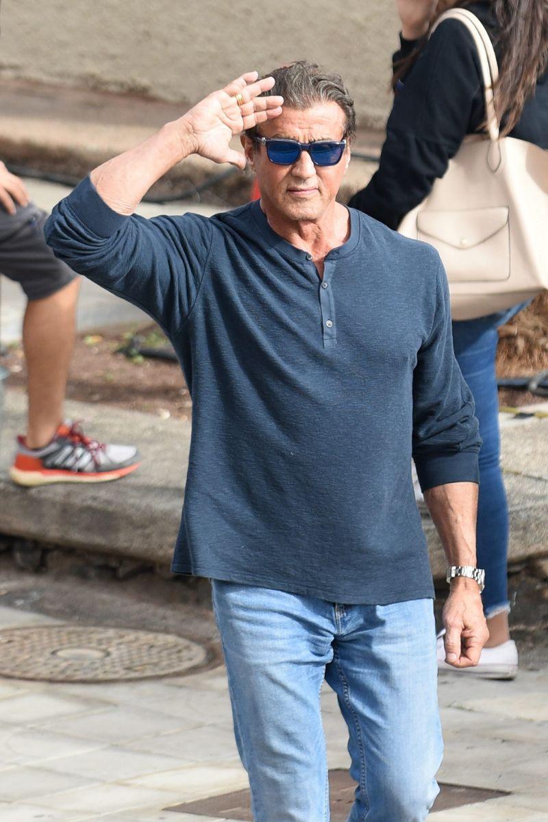 Sylvester Stallone, durante el rodaje de 'Rambo V' en Los Gladiolos. / Sergio Méndez