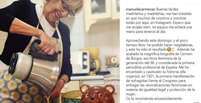 """Manuela Carmena se hace """"instagramer"""" y lo celebra con sus famosas magdalenas"""