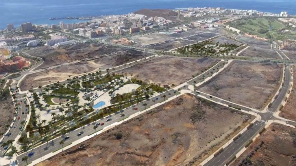 Infografía de los dos parques públicos que se construyen actualmente en El Mojón y que ocuparán una superficie de 53.000 metros cuadrados. DA