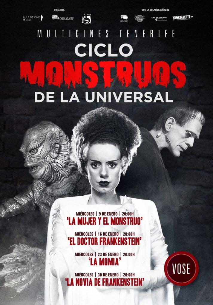 Cartel del ciclo 'Monstruos de la Universal' del Aula de Cine de la ULL.