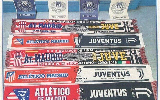 Requisadas 815 bufandas falsas del Atlético-Juventus y 9 investigados tras denuncia de UEFA y equipos