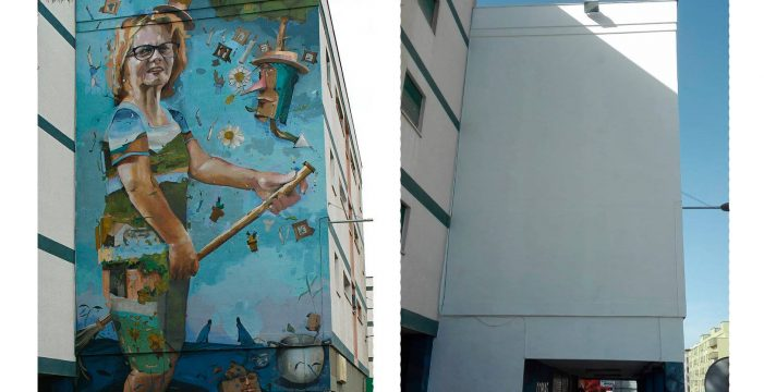 Enfado por la decisión de una comunidad de vecinos de borrar un mural en La Laguna
