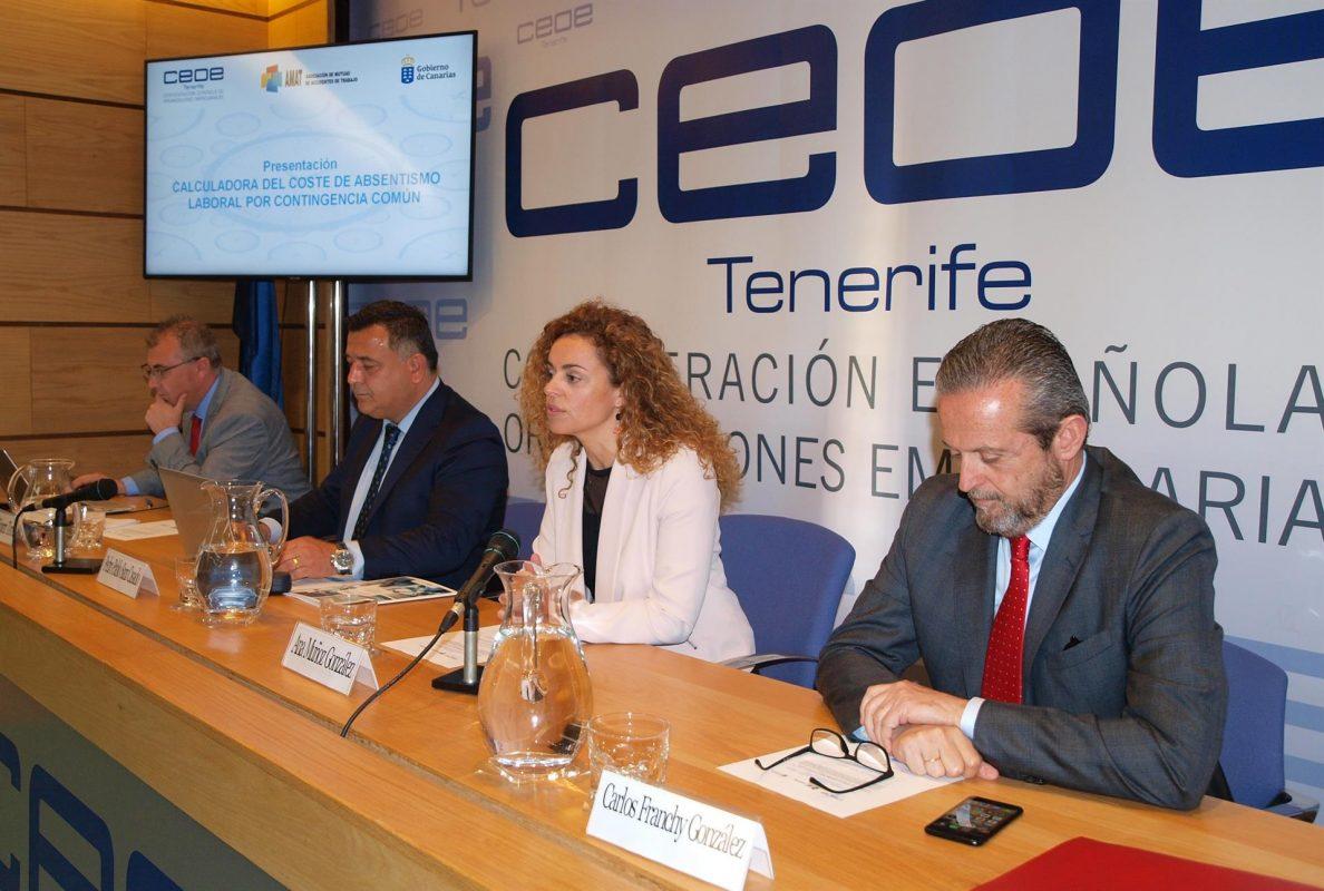 Imagen de la presentación de ayer sobre el coste económico del absentismo laboral en Canarias durante 2018. DA