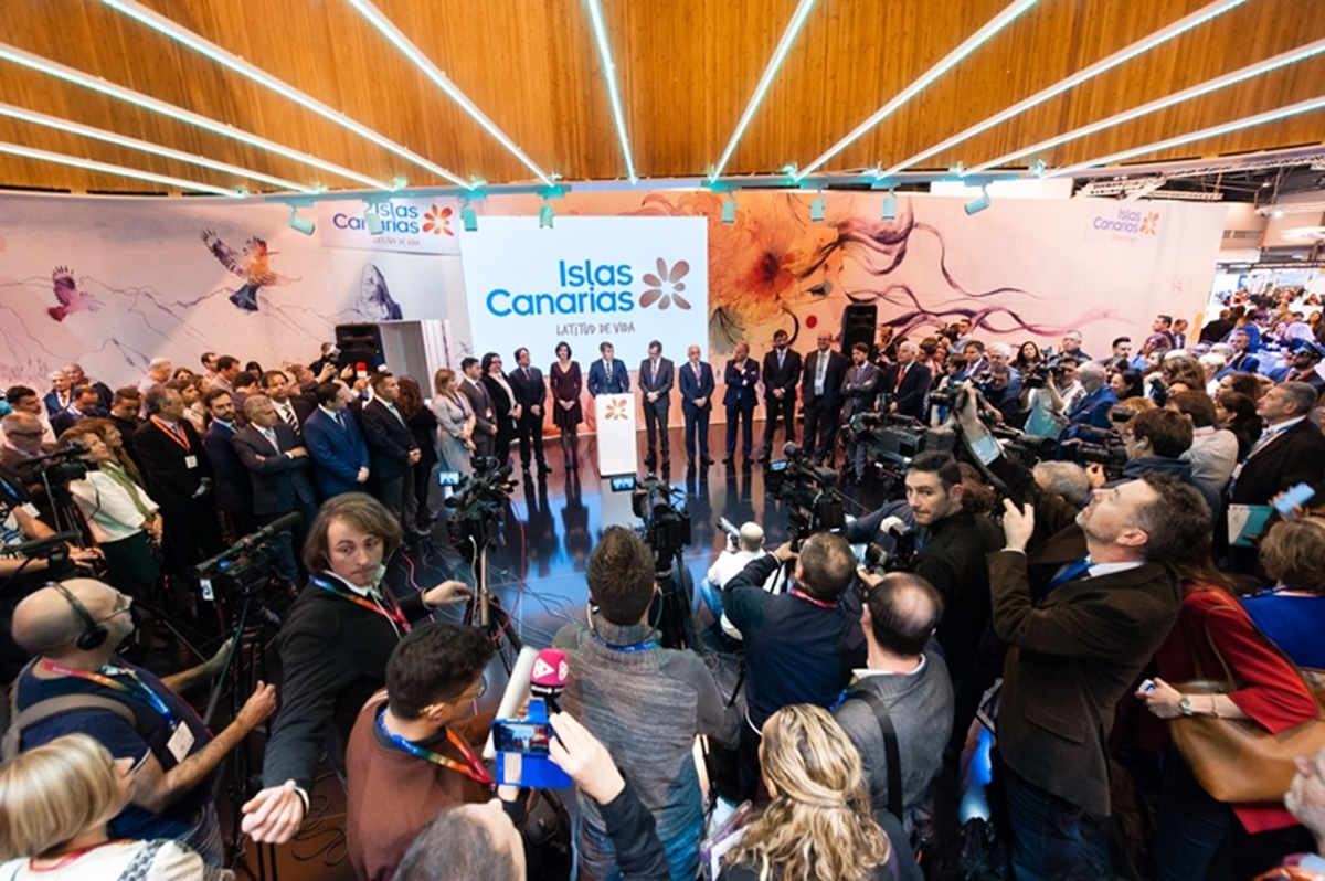 Inauguración del pabellón de Canarias en la Feria Internacional de Turismo (Fitur) de 2016, en Madrid. DA