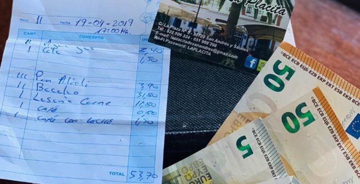 Atención: buscan en La Palma a las personas que dejaron 60 euros de propina