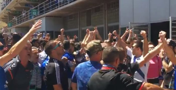 Corta manifestación contra Concepción en los exteriores del Heliodoro