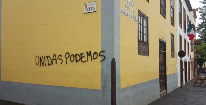 """Unidas Podemos denuncia una """"campaña del miedo"""" tras las pintadas aparecidas en La Laguna"""