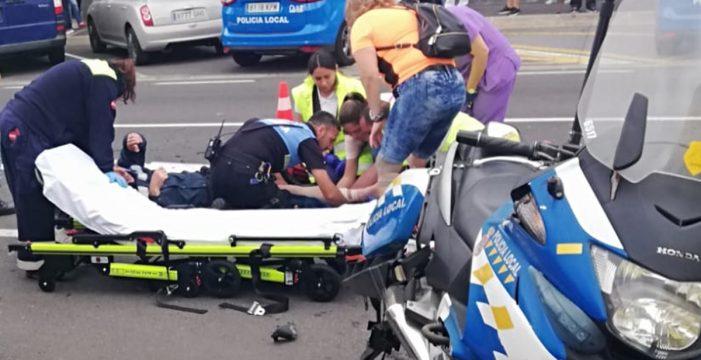 Un policía local de Granadilla, herido tras un choque entre su moto y un coche
