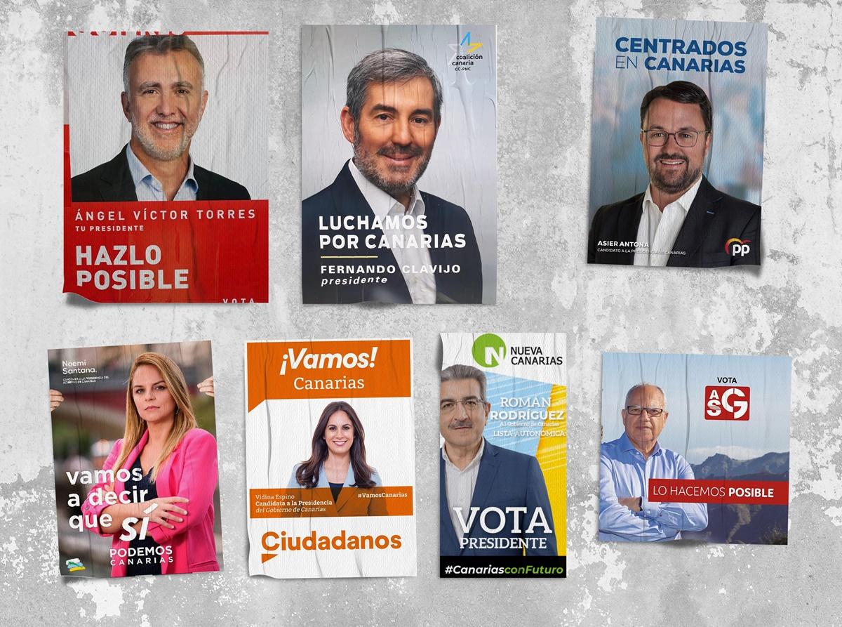 Carteles electorales de los candidatos a la Presidencia del Gobierno de Canarias. DA
