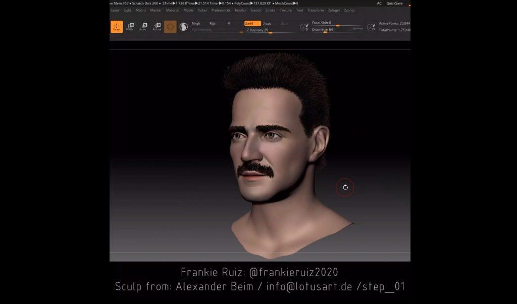 Muestra de la imagen 3D de Frankie Ruiz.   Lotus Art