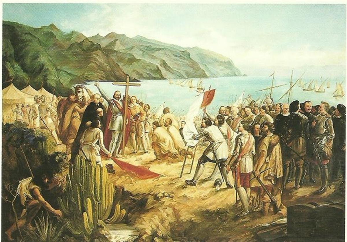 Misa en Añazo el 3 de mayo de 1494, óleo de Gumersindo Robayna sobre la fundación de Santa Cruz de Tenerife que se expone en el Museo Municipal de Bellas Artes. DA