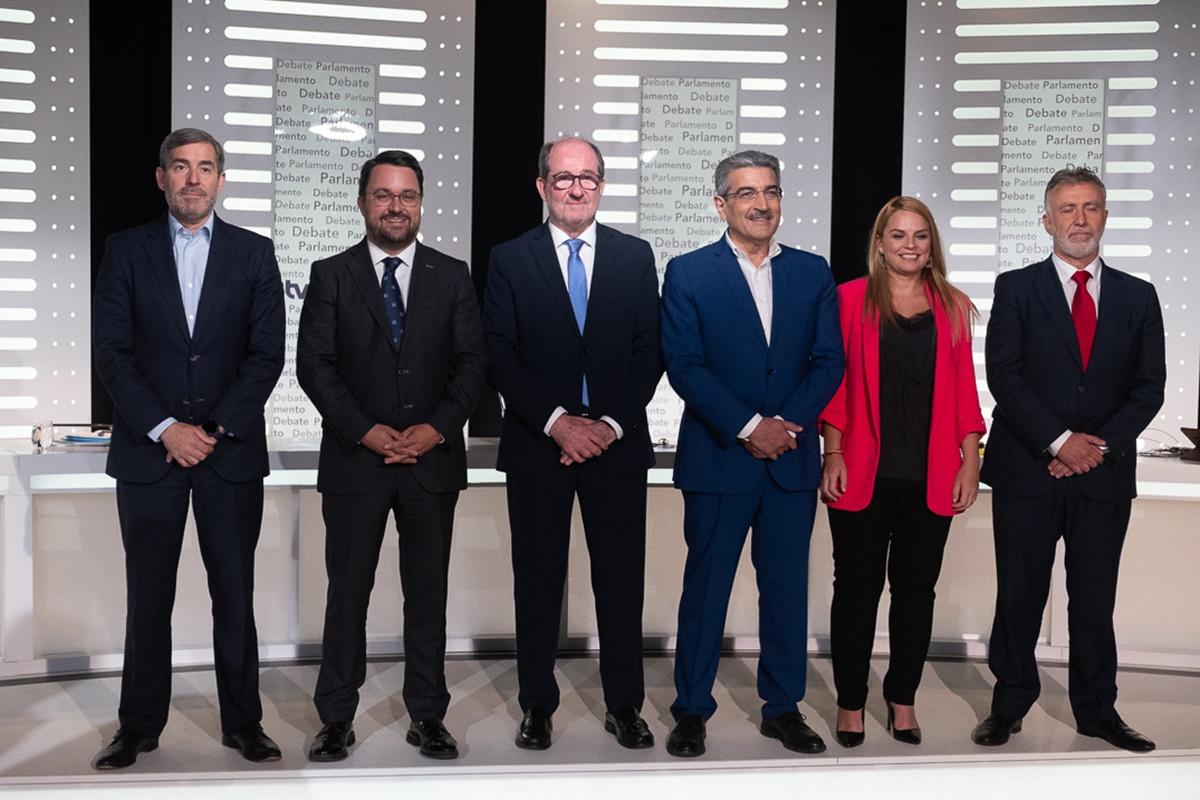 Foto de familia del debate celebrado ayer en la Radio Televisión Canaria. Fran Pallero